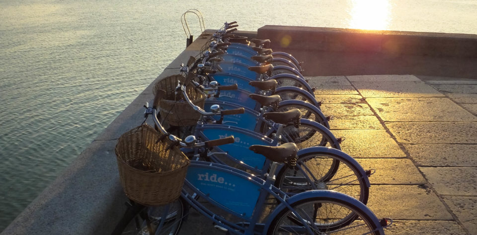 Bicycles at sunset in Margate